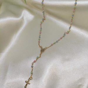 Collar Rosario perlas de colores