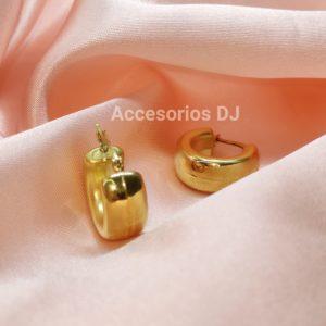 Argollas redondas con baño de oro