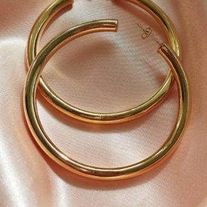 Argollas con baño de oro grandes 3 pulgadas