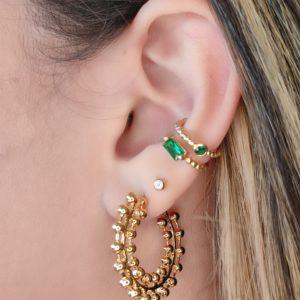 Ear Cuff Piedra redonda verde