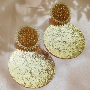 Aretes grandes doble circulo con baño de oro