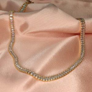 Collar cadena  de Cristales y baño de oro