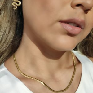 Collar cadena plana de acero inoxidable dorado