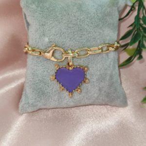 Pulsera de corazón lila