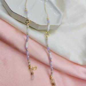 Portalentes con cristales blancos y lila