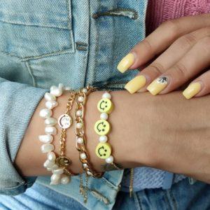 Pulsera cadena smile y perlas