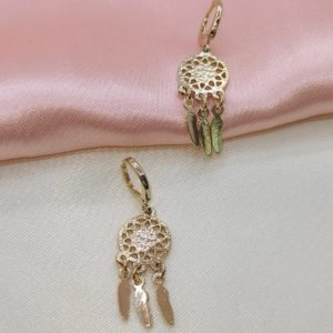 Argollas mini Rose gold atrapa sueños 1 cm