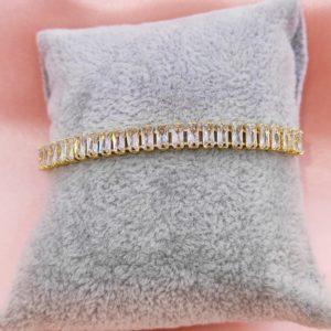 Pulsera cristales blancos con baño de oro