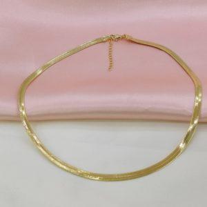 Collar cadena plana baño de oro