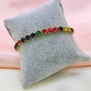 Pulsera cristales colores variados con baño de oro