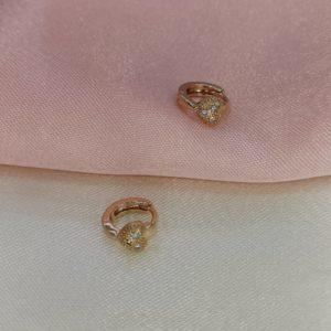 Argollas mini con brillo corazón 1 cm