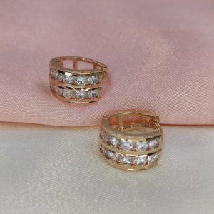 Argollas mini con brillo doble línea 1.5 cm