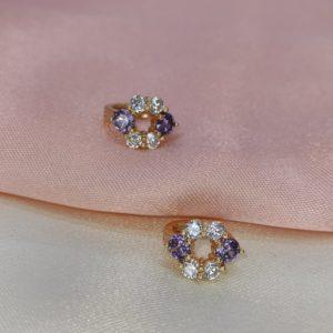 Argollas mini con brillo y lila circulo 1cm