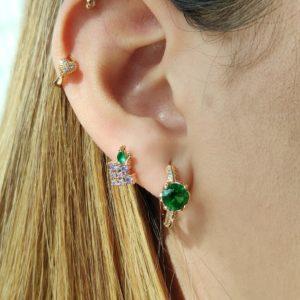 Argollas mini con brillo y verde 2 cm
