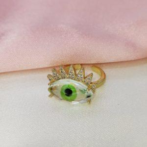 Anillo ajustable de cristales y verde