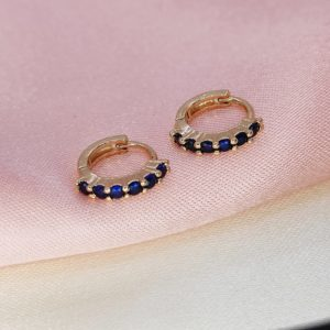 Argollas mini con circones azul 1 cm