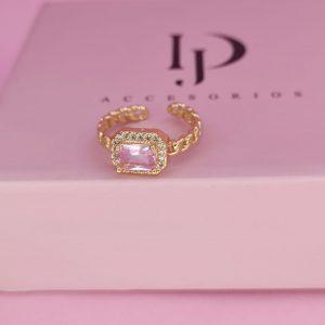Anillo ajustable con baño de oro de piedra rosa y circones