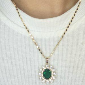 Set de collar y aretes con circones – verde
